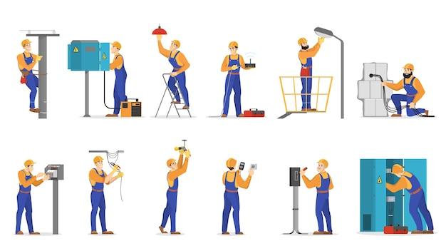 Strom arbeitet eingestellt. facharbeiter in uniform Premium Vektoren