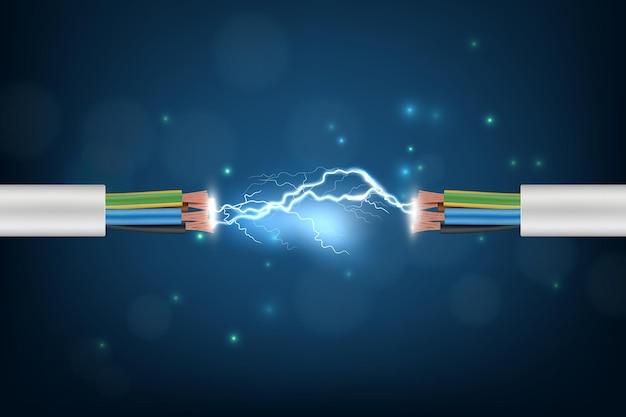 Stromkabel. verbindungsbeleuchtung, die abstraktes internet-cyberkonzepthintergrund optisches kabel-telekommunikationsbild glüht. Premium Vektoren