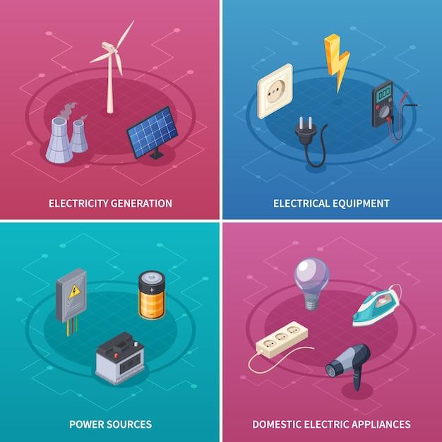 Stromkonzeptikonen stellten mit isometrischer lokalisierter vektorillustration der symbole der elektrischen ausrüstung ein Kostenlosen Vektoren