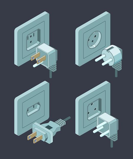 Stromversorgungsart, elektrischer leistungsschalter-hausisolierungsenergiestecker isometrisch Premium Vektoren