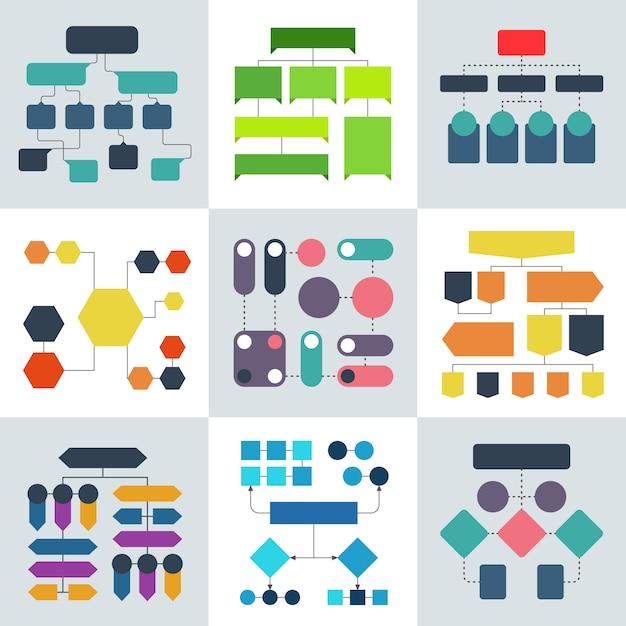 Strukturelle flussdiagramme, flussdiagramme und fließende prozessstrukturen, infografikelemente Premium Vektoren
