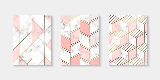 Strukturierte hintergrundmarmorsammlung mit goldener geometrischer linie Premium Vektoren