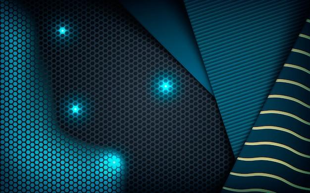 Strukturiertes blaues abstraktes maß auf dunklem hexagon Premium Vektoren