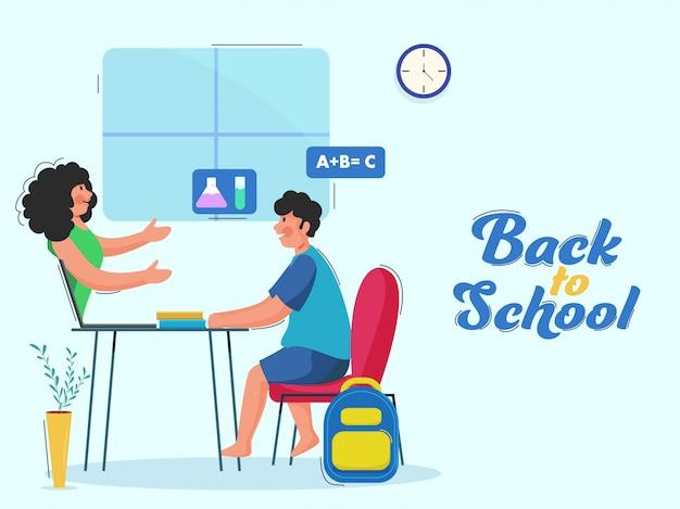 Student boy lesung vom lehrer im laptop mit büchern am schreibtisch für back to school-konzept. Premium Vektoren