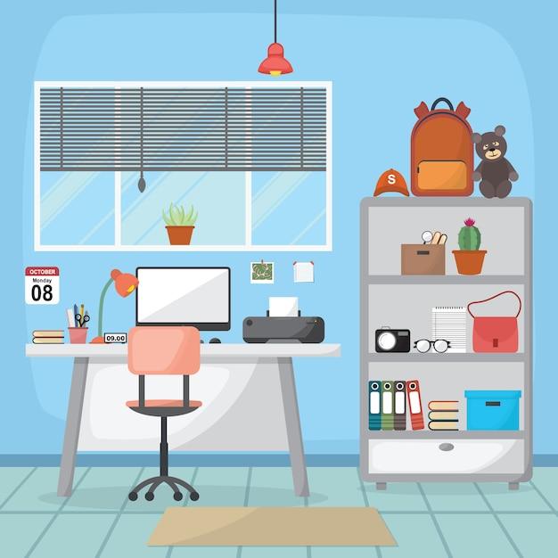 Student children study desk table-innenraum-möbel-flaches design Premium Vektoren