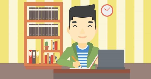 Student, der laptop für bildung verwendet. Premium Vektoren