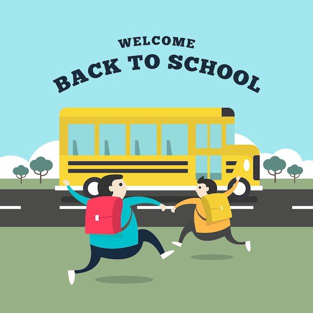 Student, der zum bus läuft, um zur schule zu gehen. Premium Vektoren