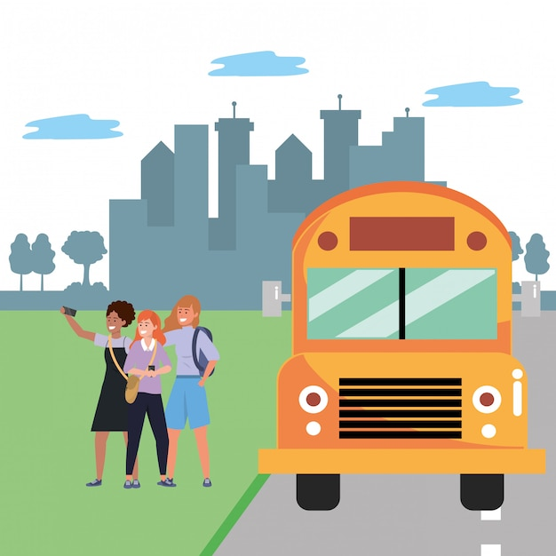 Student diverse gruppenbushaltestelle Premium Vektoren