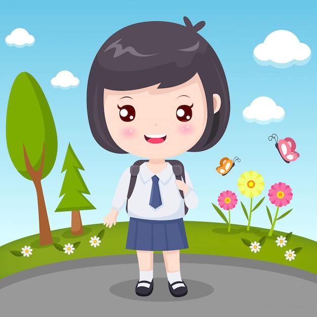 Student girl mit schwarzen haaren Premium Vektoren