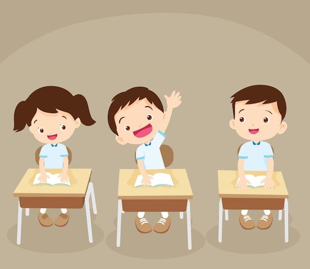 Student hand hoch Premium Vektoren