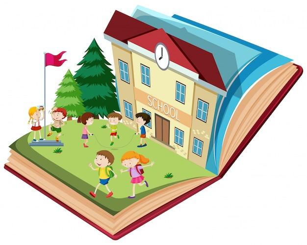 Student in der schule offenes buch thema Premium Vektoren