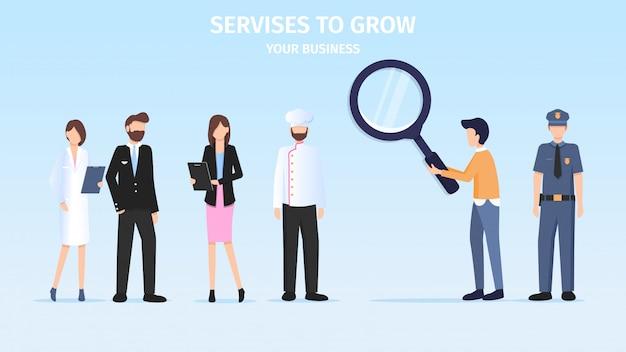 Student making business berufswahl herausforderung Premium Vektoren