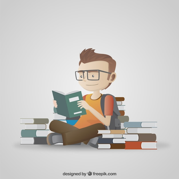 Student reading illustration Kostenlosen Vektoren