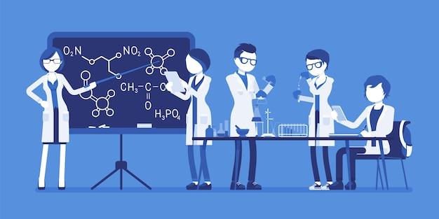Studenten im labor. junge leute, die an einer universität studieren, haben chemieunterricht im physikalischen oder natürlichen labor. wissenschafts- und bildungskonzept. illustration mit gesichtslosen zeichen Premium Vektoren