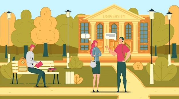 Studenten im universitäts- oder college-campus-park. Premium Vektoren