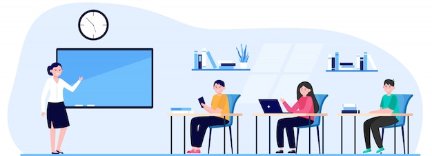 Studenten in der flachen vektorillustration des klassenzimmers Kostenlosen Vektoren