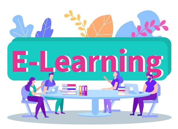 Studenten sitzen mit laptops und büchern hinter dem tisch. fernunterricht. e-learning. mann mit laptop. Premium Vektoren