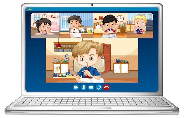 Studenten video chat online-bildschirm auf laptop Kostenlosen Vektoren