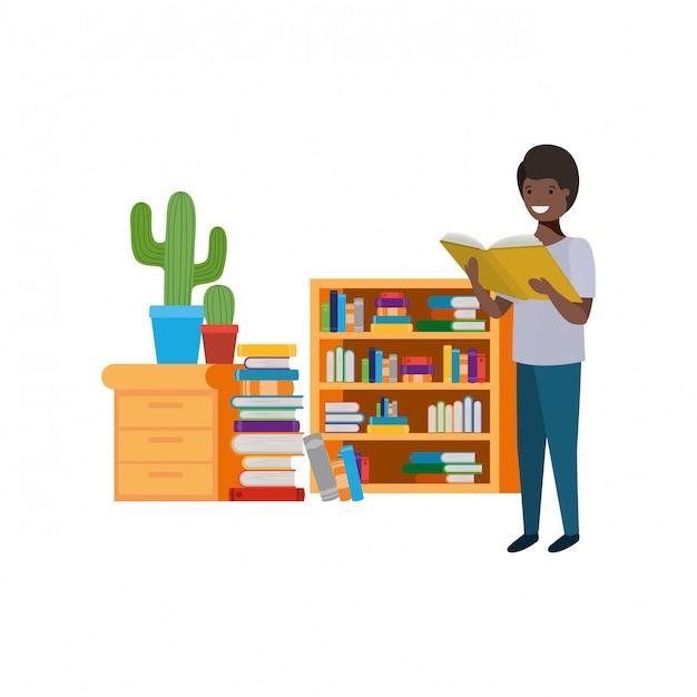 Studentenjunge mit lesebuch in den händen Kostenlosen Vektoren