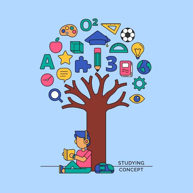 Studentenlesbuch unter der wissensikonenbaum-vektorillustration Premium Vektoren