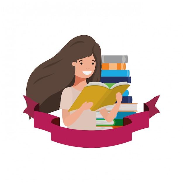 Studentenmädchen mit lesebuch in den händen Kostenlosen Vektoren