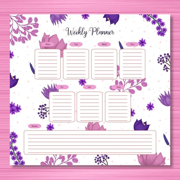 Studentenplaner mit herrlichem lila blumen Premium Vektoren