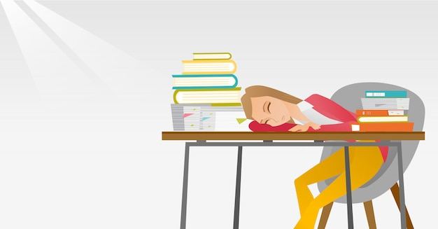 Studentin, die am schreibtisch mit buch schläft. Premium Vektoren