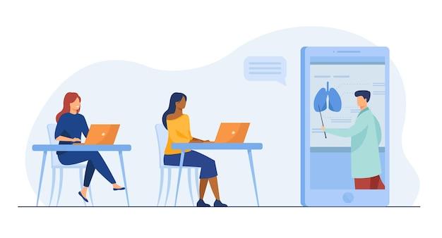 Studentinnen lernen online medizin. tutor gibt webinar, diagramm der menschlichen organe. karikaturillustration Kostenlosen Vektoren