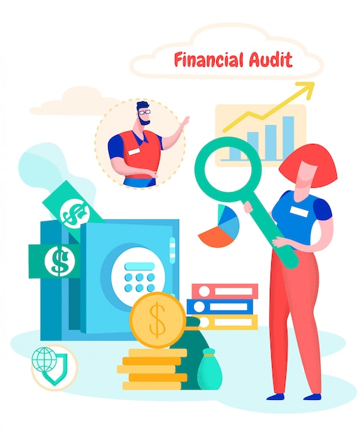 Studieren der finanzprüfung der frauenkassenfirma Premium Vektoren