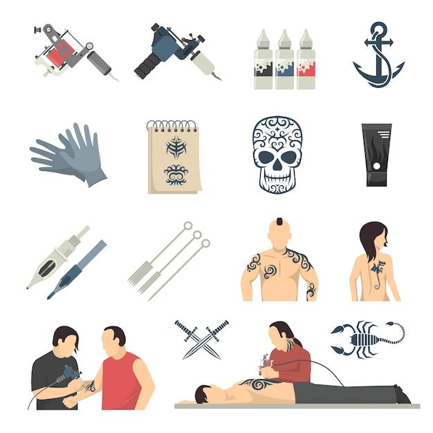 Studio-flache ikonen-sammlung Kostenlosen Vektoren