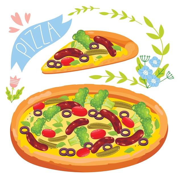 Stück pizza isoliert auf weißem hintergrund Premium Vektoren