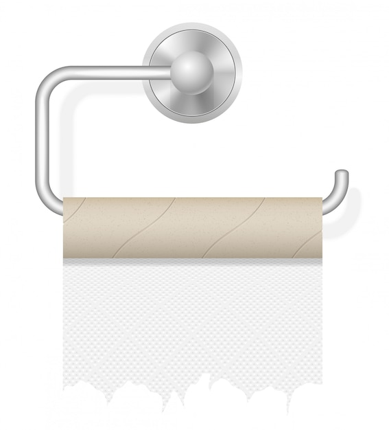 Stück toilettenpapier auf haltervektorillustration Premium Vektoren