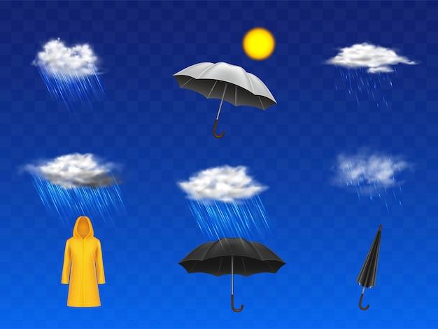 Stürmische und regnerische wettervorhersage 3d realisierten die ikonen, die mit sonnenscheibe, wolken mit niederschlag eingestellt wurden Kostenlosen Vektoren