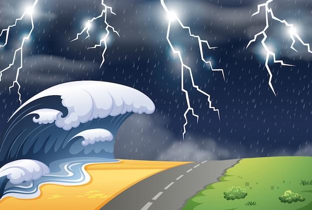 Stürmisches wetter in der naturszene Kostenlosen Vektoren