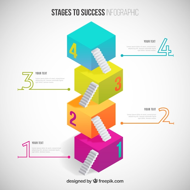 Stufen zum erfolg infografik Kostenlosen Vektoren