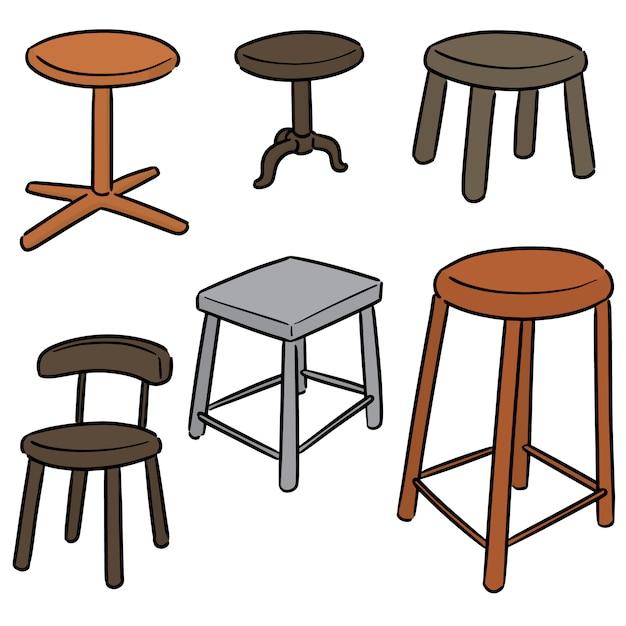 Stuhl gesetzt Premium Vektoren