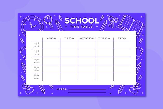 Stundenplan für den schulanfang in flachem design Kostenlosen Vektoren