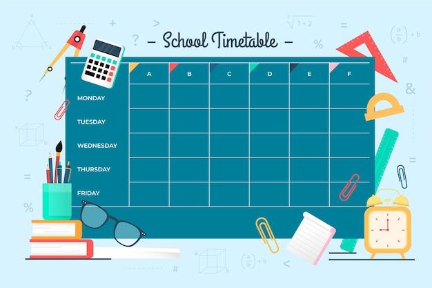 Stundenplan für den schulanfang Premium Vektoren