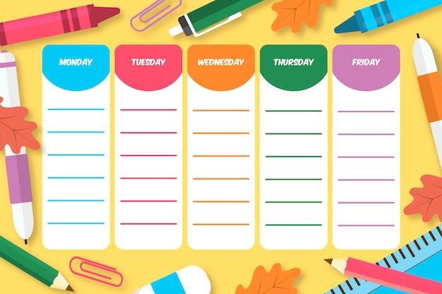 Stundenplan für den schulanfang Kostenlosen Vektoren