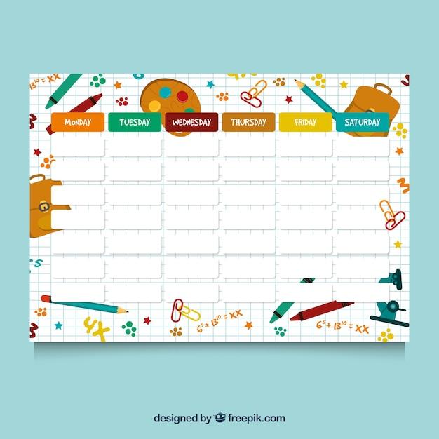 Stundenplan für die organisation von aktivitäten Kostenlosen Vektoren