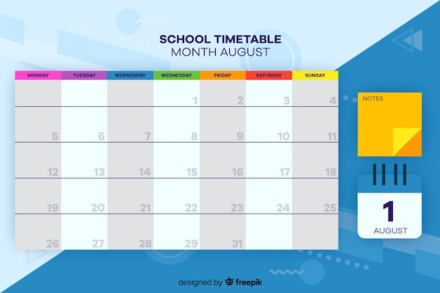 Stundenplan für kinder, wochenplaner Kostenlosen Vektoren