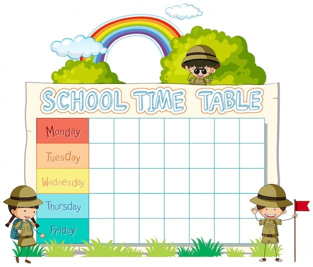 Stundenplan schulplanung mit charakteren Kostenlosen Vektoren