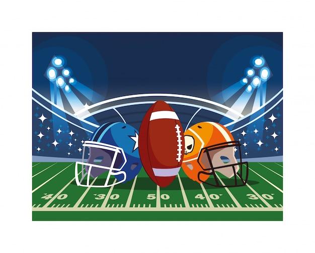 Sturzhelme und amerikanischer fußball des balls auf stadion Premium Vektoren