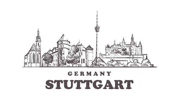 Stuttgarter stadtbild, deutschland Premium Vektoren