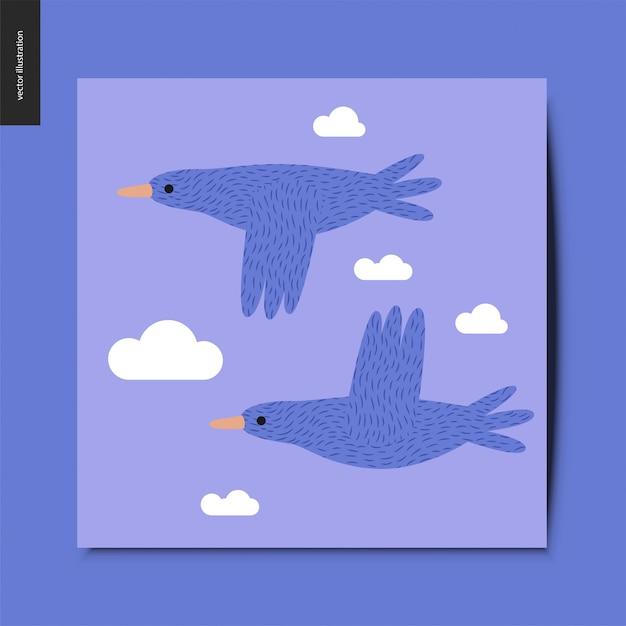 Stwo, das blaue vögel im blauen himmel mit wolkenpostkarte fliegt Premium Vektoren