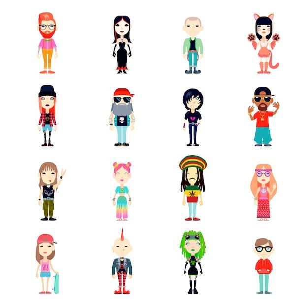 Subkultur-icons set Kostenlosen Vektoren