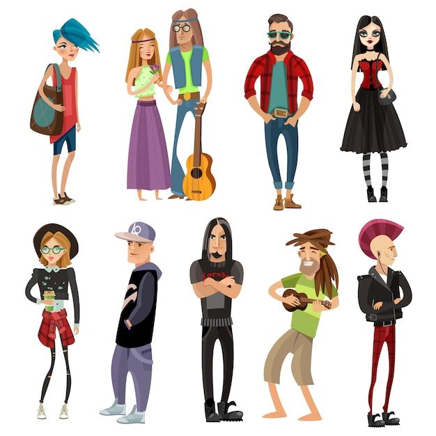 Subkultur-menschen im cartoon-stil Kostenlosen Vektoren