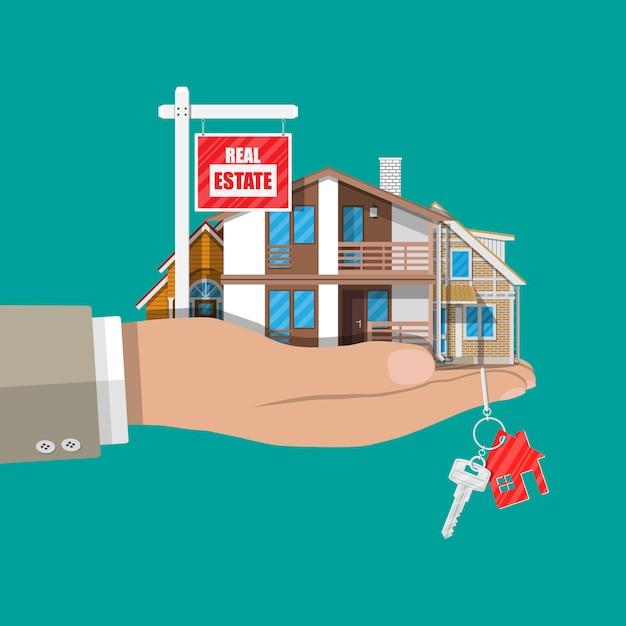 Suburban familienhaus set und zum verkauf plakat Premium Vektoren