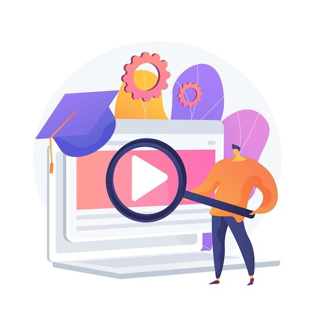 Suche nach internetstunden. remote-universität, bildungsprogramme, website für online-kurse. schüler mit lupenkarikaturfigur. Kostenlosen Vektoren