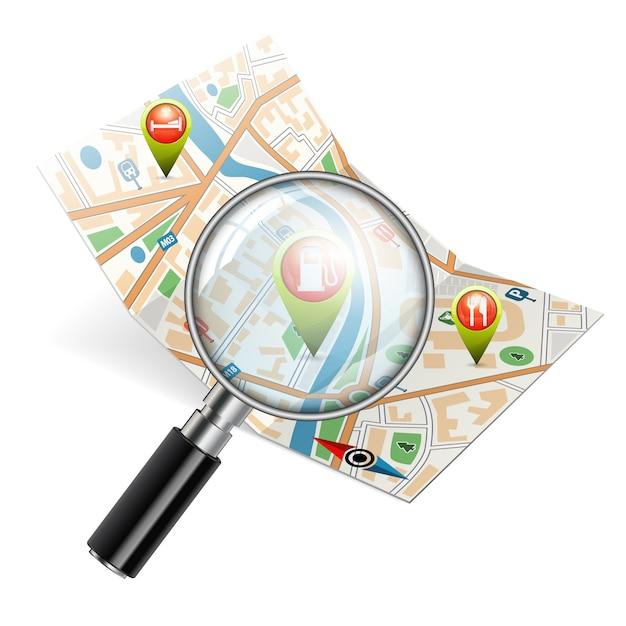 Suche nach objekten auf der karte Premium Vektoren